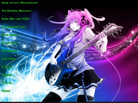 Girl Playing Guitar - christian, flyleaf, headphones, religious, electronica, fintess partner, anime, tove lo, love, heaven, the birthday massacre, phantogram, happiness, music, exercise partner, fun, joy, goth, garbage, cool, guitar, entertainment, dance, motivational