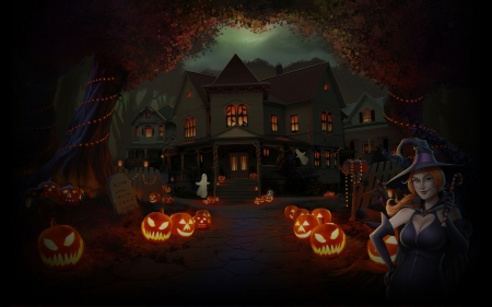 Haunted House - Fall, fence, lightposts, witch, gravestone, jack o lanterns, bats, halloween, shull, lights, walkway, candy cane, lanterns, haunted house, houses, trees, hat, tombstone, ghosts, sidewalk, Autumn, pumpkins