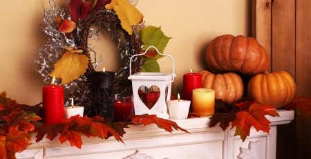 Autumn Decor - Fall, wreath, lantern, gourds, candles, leaves, flames, decorations, heart, Autumn, pumpkins