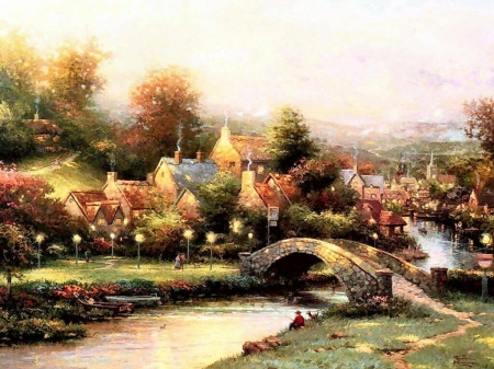 Village - painting, village, river, bridge