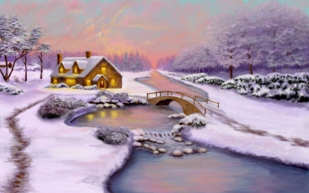 Winter season - river, snow, cottage, winter