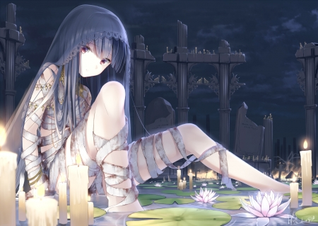 Deceased - pretty, lotus, veil, beautiful, sweet, nice, anime, hot, beauty, anime girl, light, night, candle, female, lovely, gloom, sexy, girl, creep, flower, lady, scene, bandages, serious, maiden