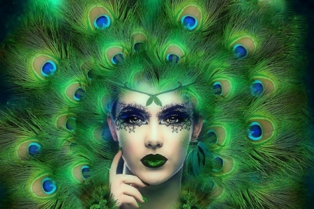 ~Lady Peacock~ - peacock, love four seasons, creative pre-made, digital art, woman, fantasy, green, photomanipulation, makeup, weird things people wear, feathers