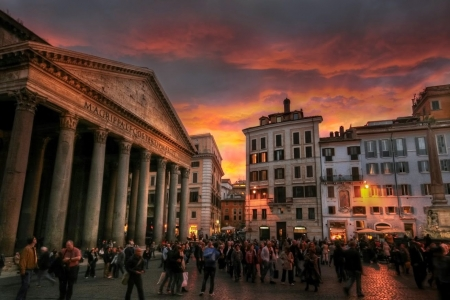 Pantheon Reflecting the Sunsetting, Rome, Italy - building, people, place, colors, hdr, sky