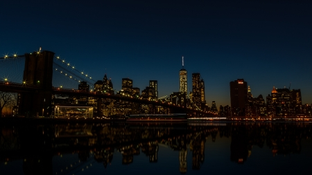 New York City - Brooklyn Heights - architecture, brooklyn, new york city, brooklyn bridge, manhattan, night