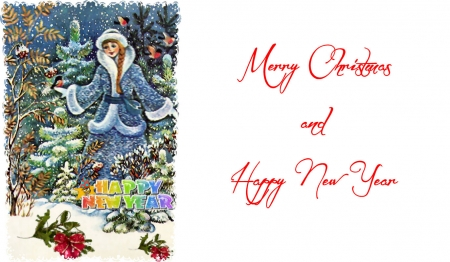 Merry Christmas & Happy New Year - Christmas, art, holiday, December, pretty girl, beautiful, illustration, artwork, winter, card, snow, painting, wide screen, occasion, lady, scenery
