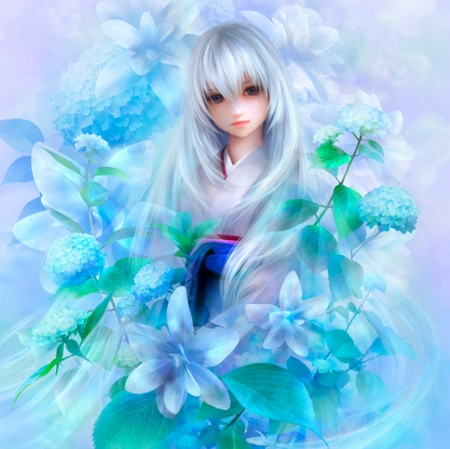 零花 - pretty, hd, beautiful, adorable, silver, floral, sweet, blossom, nice, fantasy, yukata, beauty, realistic, gorgeous, female, lovely, kimono, cute, kawaii, girl, flower, silver hair, lady, white, maiden