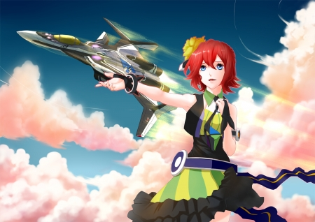 Kaname Buccaneer and Messer's Grim Reaper - Veritech, Anime, Smile, Walkure, Mecha, Sky, Red Hair, Redhead, Buccaneer, Blue Eyes, Macross Delta, Kaname Buccaneer, Clouds, Grim Reaper, Plane, Big Eyes, Anime Girl, Kaname