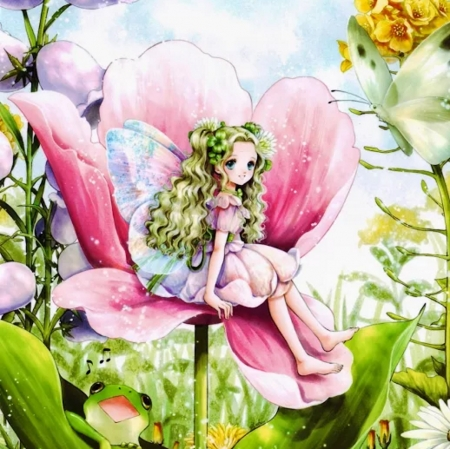 Thumbelina - pretty, blond, beautiful, adorable, floral, sweet, blossom, nice, anime, beauty, anime girl, long hair, huge, giant, female, lovely, thumbelina, blonde, blonde hair, blond hair, cute, kawaii, tiny, girl, flower