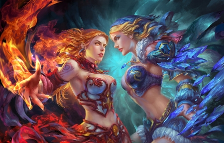Fire & Ice - red, fantasy woman, beautiful, woman, sweet, fantasy, beauty, long hair, blue, art, female, lovely, blonde hair, abstract, armor, cute, fire, ice, lady