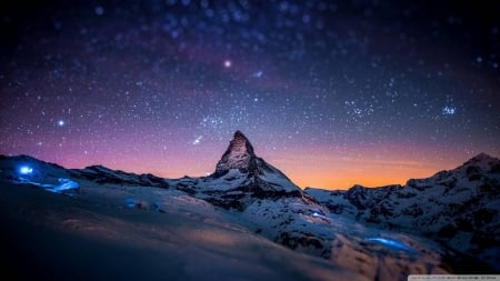 under the stars - stars, fun, cool, mountain, space