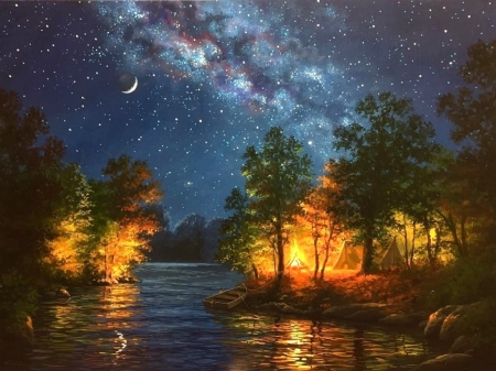 Evening Melody - moons, lakes, fall season, autumn, milky way, tent, love four seasons, campfire, attractions in dreams, sky, paintings, sunsets, nature
