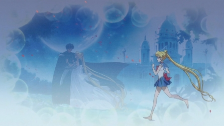 SM - Crystal 3 - pretty, darien, beautiful, sweet, nice, tsukino usagi, moon, anime, endymion, love, sailor moon, beauty, anime girl, couple, sailormoon, usagi, female, lovely, romantic, romance, anime couple, usagi tsukino, princess serenity, tsukino, girl, serenity, running, lover, castle, princess