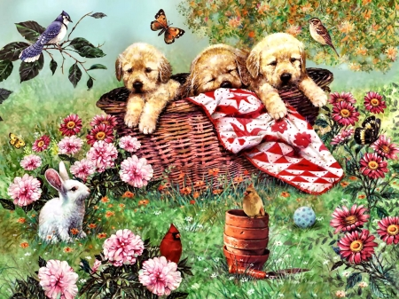 Labs in a Basket - Dogs FC - beautiful, blanket, artwork, canine, animal, cardinals, puppies, painting, wide screen, flowers, sparrow, labradors, art, rabbit, butterflies, pets, basket, blue jay, dogs