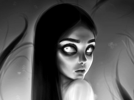 Little Goth Girl - black and white, goth, fantasy, dark