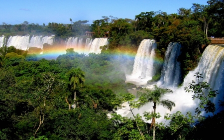 rainbow over the falls - cool, waterfall, nature, river, rainbow, fun