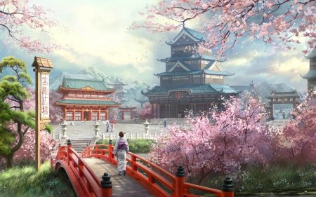 Empire - cherry trees, beautiful, woman, clouds, cherry blossom, bridge, people, flowers, beauty, pink, gardden, Japan, lanterns, palace, sky, kimono, abstract, pagoda, mountains, tres, landscape