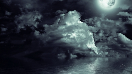Moon Light - storm, sky, sea, dark, clouds, full moon