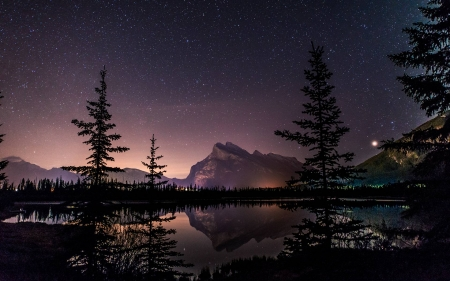 Vermillion Lake Stars - stars, fun, cool, mountain, space, lake
