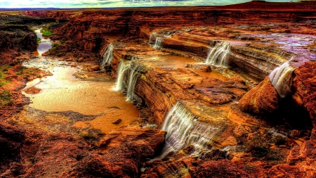 River in a Canyon - Canyon, Waterfall, Nature, River