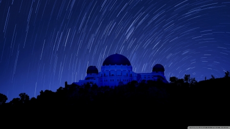 Griffith Observatory at Night, Star Trails - California, dark, nature, sky, blue
