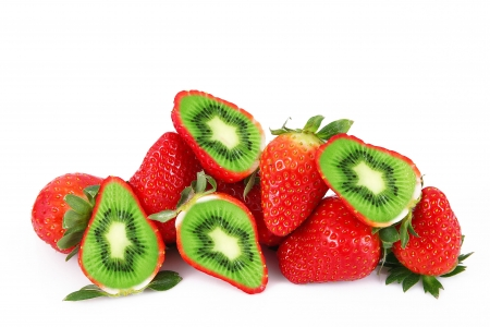 Funny fruits - berry, kiwi, fantasy, white, funny, strawberry, green, red, creative
