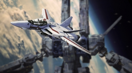 Rick and the SDF1 in space - valkyrie, robotech, macross, veritech