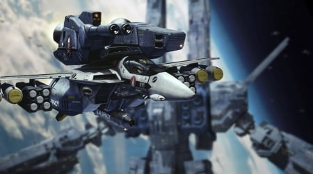roy and sdf1 in space - macros, valkyrie, robotech, veritech