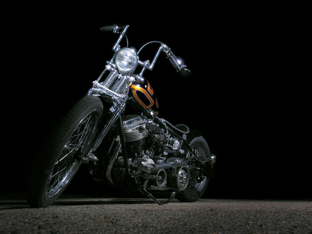 ghost rider  - harley davidson, motorcycle, chopper