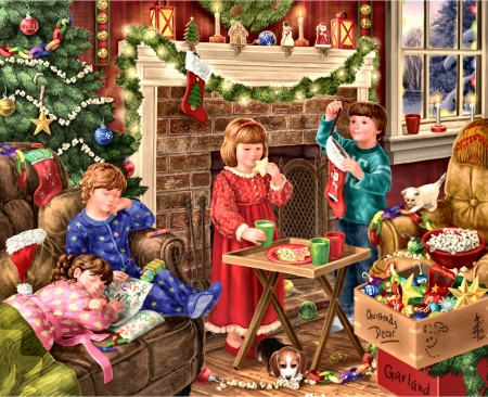 Children Decorating for Christmas FC - Christmas, December, children, beautiful, illustration, artwork, canine, decorating, painting, wide screen, scenery, art, holiday, little girls, pets, feline, occasion, cats, dogs
