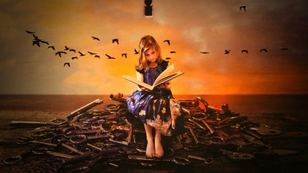 Key Keeper - keys, reading, girl, book, birds, clouds, sky