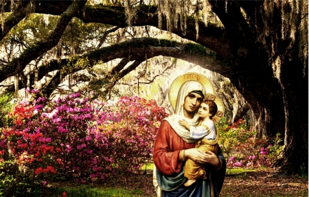 Virgin Mary Carrying Baby Jesus Collages Abstract Background