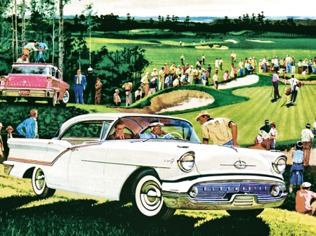 Olds on the Green - art, Oldsmobile, golf green, beautiful, illustration, artwork, cars, sport, automobile, painting, auto, wide screen, golfing