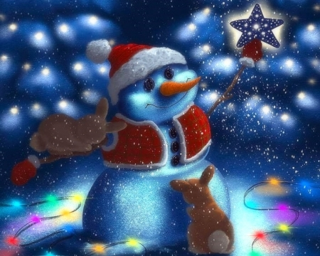 Christmas Snowman - Christmas, holidays, Christmas Tree, love four seasons, attractions in dreams, snowman, xmas and new year, winter, paintings, snow, rabbits, bunnies, star, light