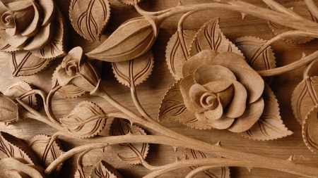 Carved wooden roses other abstract background wallpapers on