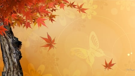 Maple Leaves Bright by MaDonna - fall, autumn, leaves, maple, butterfly, Firefox Persoma theme, trees, abstract
