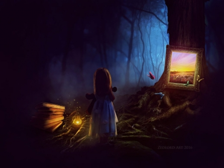 The Magical Frame - abstract, girl, frame, dark