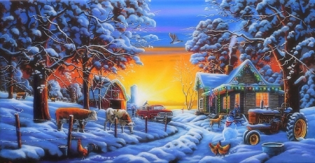 Countryside Christmas - Christmas, cottages, holidays, tractor, love four seasons, farms, attractions in dreams, xmas and new year, winter, paintings, snow, pick up