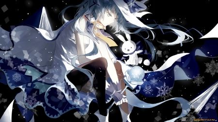 #Nothing - Long hair, Cool, Anime girl, Beatiful, Dark, Kawaii