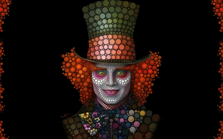 Mad Hatter - art, redhead, black, mad hatter, alice in wonderland, fantasy, johnny depp, face, disney