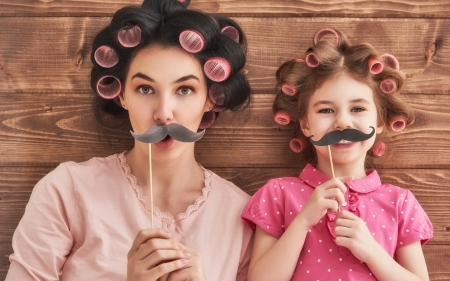 Silly girls - girl, moustache, silly, copil, child, funny, mother, pink