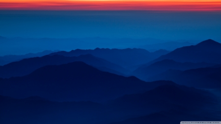 Blue Mountains Red Sky - red, Japan, mountains, nature, Fuji, sky, blue