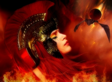 The Sighn - fire, fantasy, photomanipulation, dark, weird things people wear, creative pre-made, digital art, woman