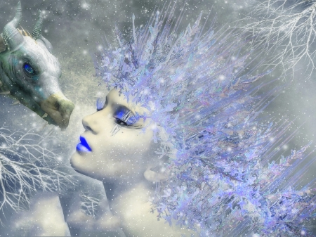 Winter Memories - love four seasons, creative pre-made, digital art, woman, dragon, winter, fantasy, photomanipulation, snow, weird things people wear