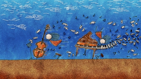 Flowing Music - musicians, keys, brown, grass, wind, fun, clouds, illustration, piano, cello, whimsical, blue