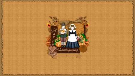 Happy Thanksgiving - corn, Fall, bow, Happy Thanksgiving, hearts, pilgrims, leaves, Thanksgiving, turkey, flowers, Autumn, pumpkins