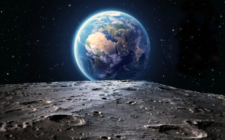 CG of Earth from the Moon - cg, moon, earth, nature, space