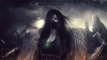 #Nothing - pretty, wings, realist anime, dark hair, beatiful, cute, cool, dark, anime girl, lady, long hair