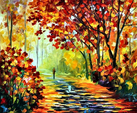 After the Rain - art, beautiful, illustration, artwork, Afremov, after, painting, wide screen, rain, walking, scenery, landscape