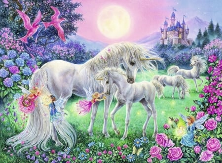 The Magical World of Unicorns - fantasy, painting, castle, artwork, horses